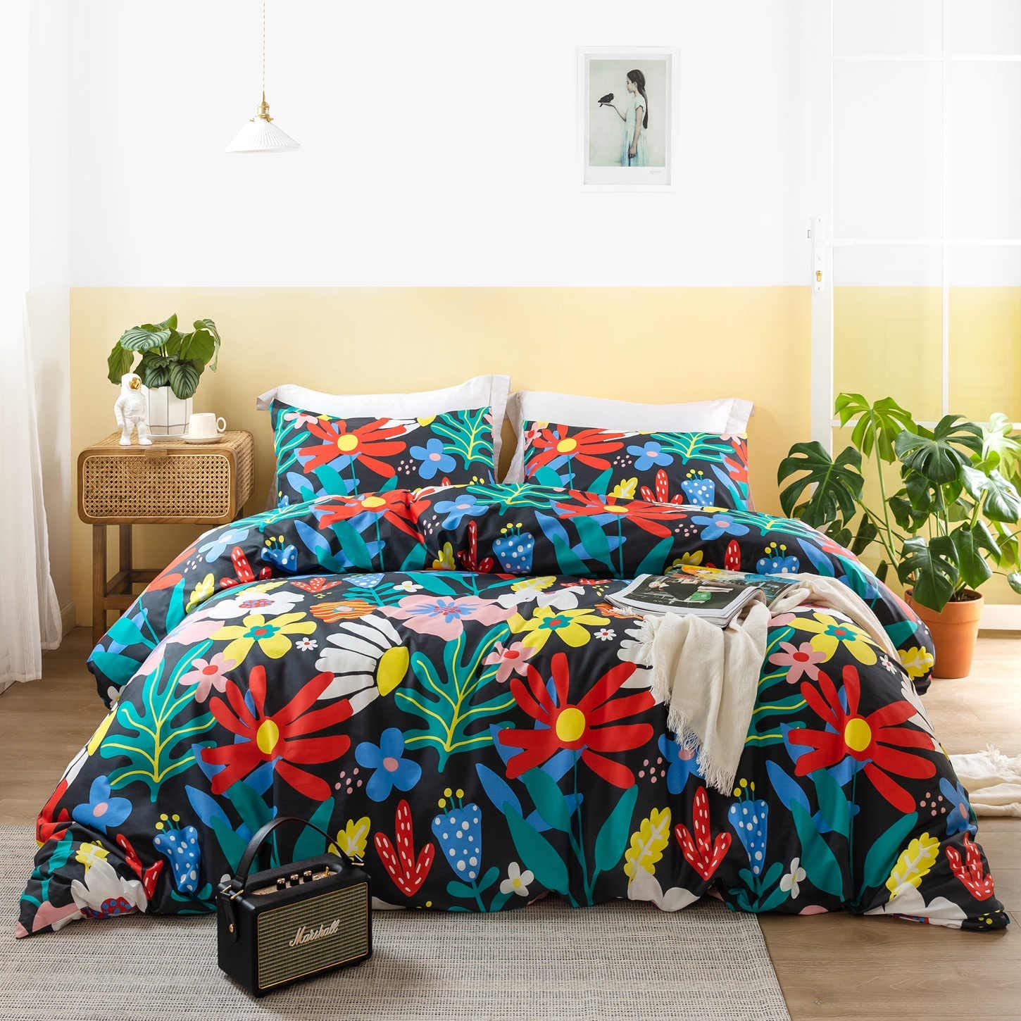 SUSYBAO 3 Pieces Duvet Cover Set 100% Cotton Queen Size Multi-Colored Sunflowers Print Bedding Set
