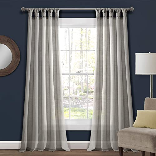 Lush Decor Light-Gray Burlap Knotted Tab-Top Window Curtain Panel Pair 84 x 45