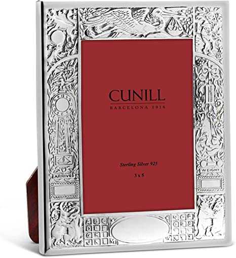 Amazon Com Cunill Stork Birth Record Sterling Silver 3x5 Engravable Picture Frame