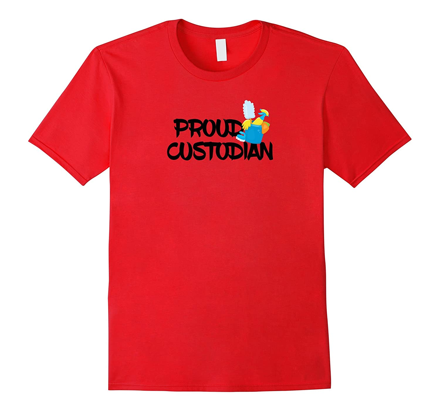 Proud Custodian with Cleaning Supplies T-Shirt-Vaci