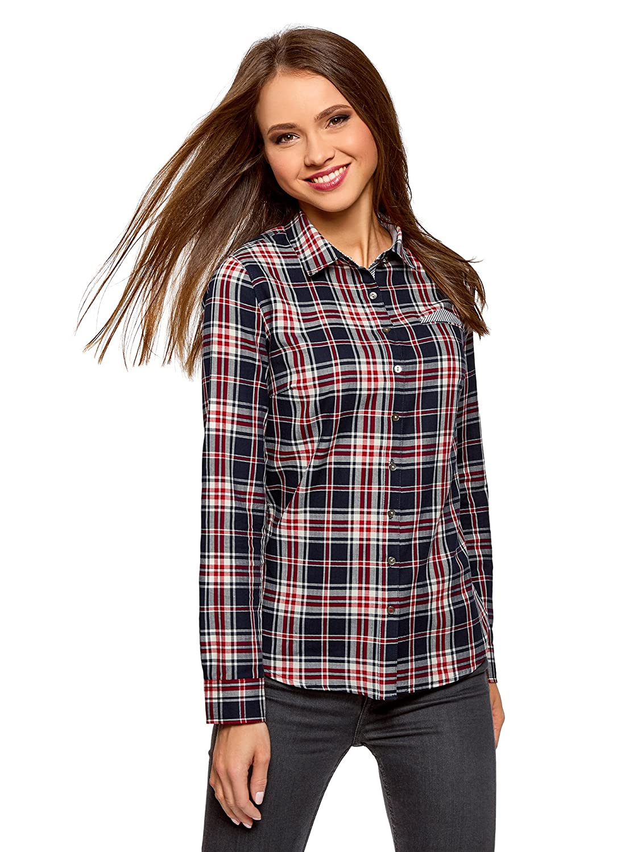 oodji Ultra Mujer Camisa Estampada de Algodón: Amazon.es: Ropa y ...