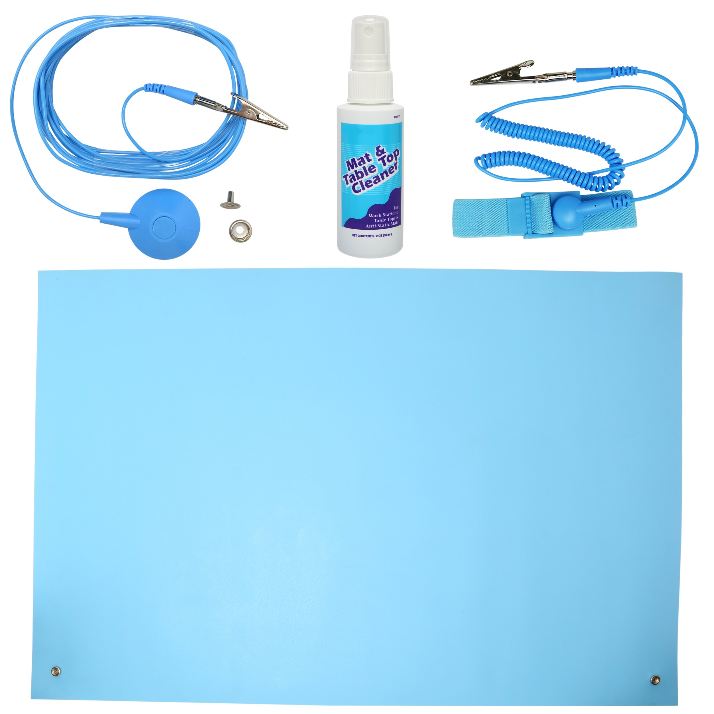 ESD High Temperature Mat Kit | 16'' x 24'' | Sky Blue | with (1) ESD Wrist Strap, (1) ESD Grounding Cord, (1) Bottle of Mat Cleaner