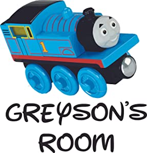 Train Cartoon Thomas and Friends Customized Wall Decal - Custom Vinyl Wall Art - Personalized Name - Baby Girls Boys Kids Bedroom Wall Decal Room Decor Wall Stickers Decoration Size (20x20 inch)