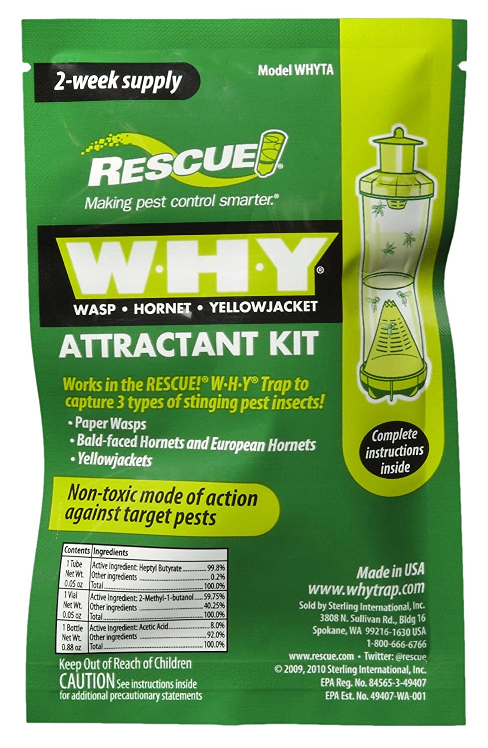 RESCUE!! - WHY Wasp, Hornet, Yellow Jacket Attractant Refill (3 PACK) Sterling International Inc WHYTA