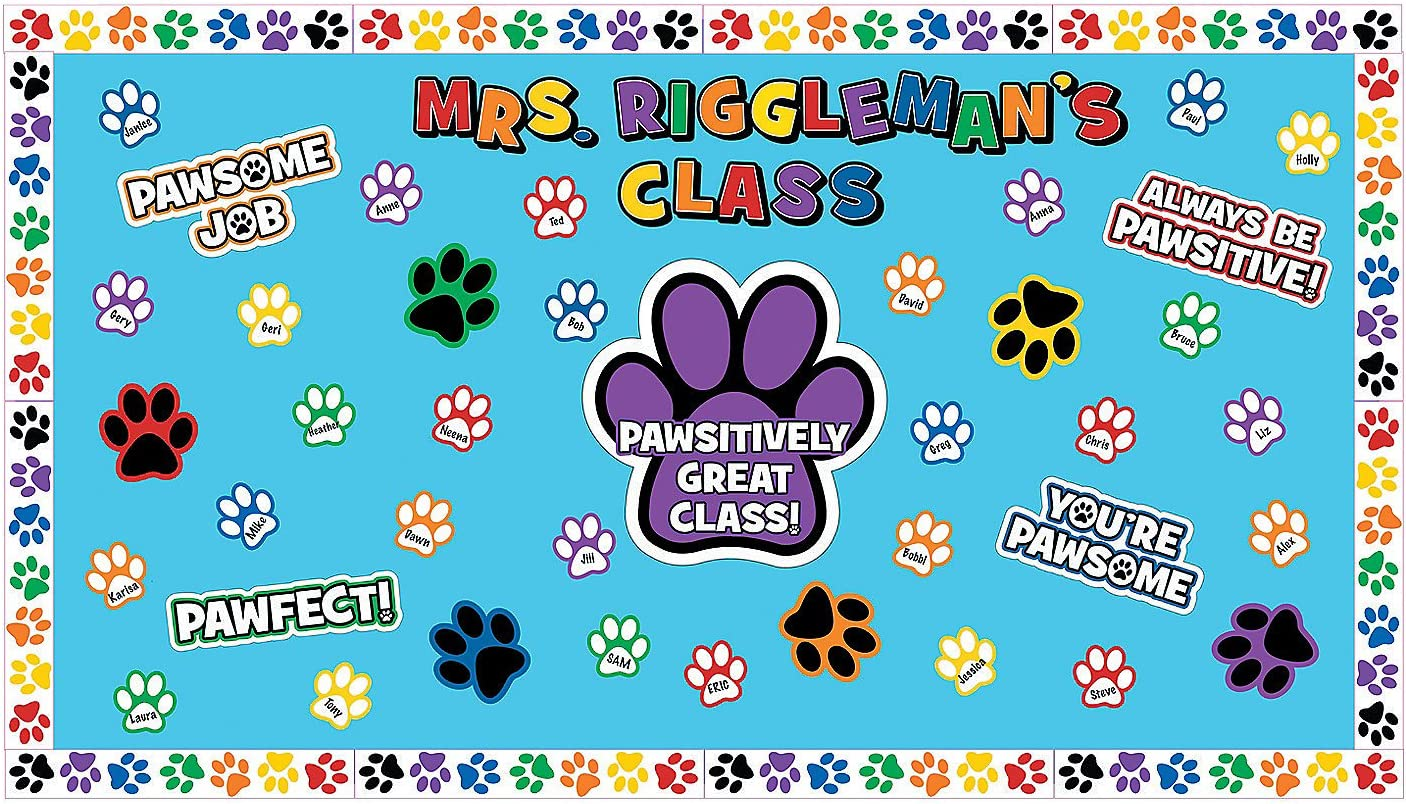 Fun Express Paw Print Bulletin Board Set - 20 Pieces - Educational and Learning Activities for Kids