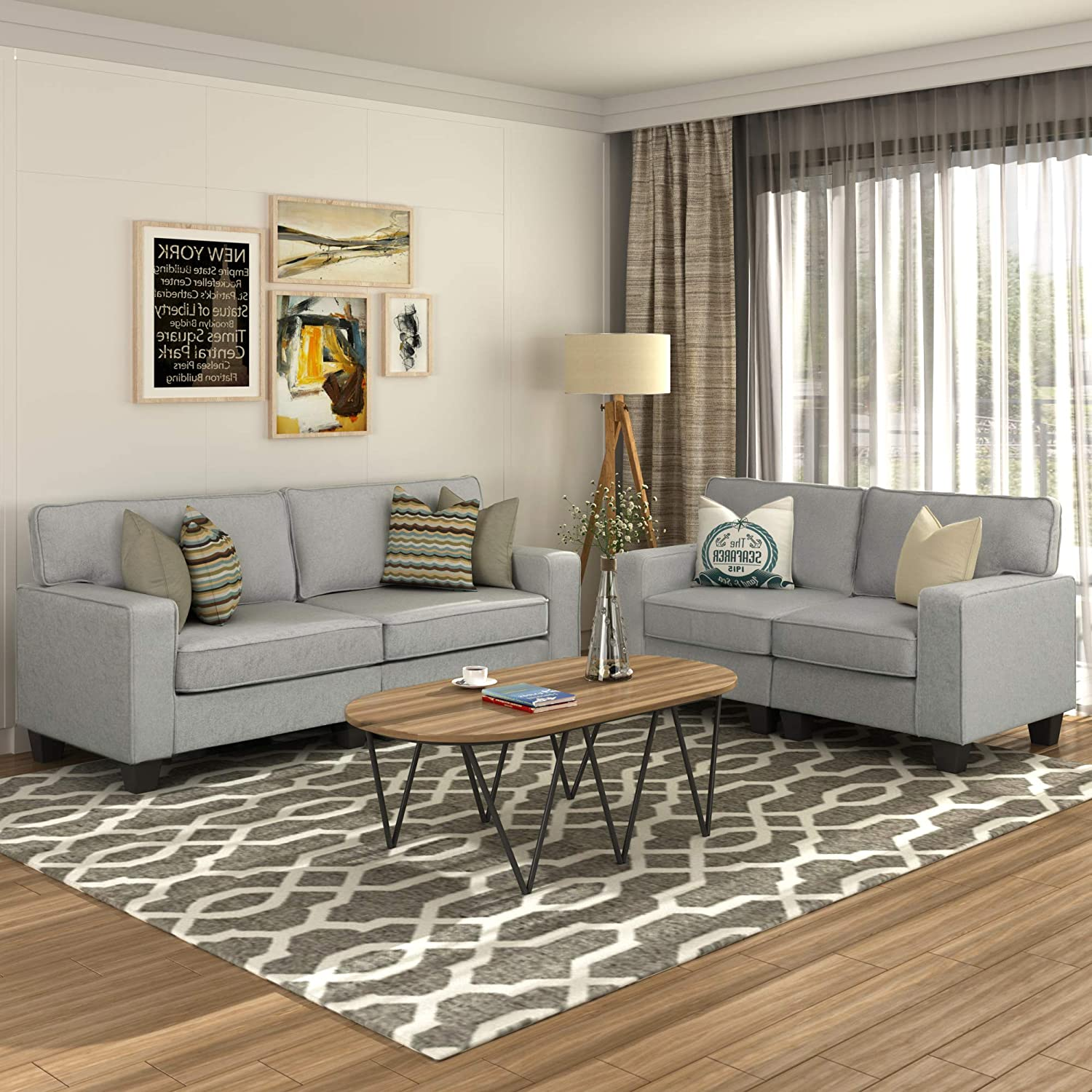 11 Piece Sofa Sets, Living Room Sofas and Couches, Morden Style Livingroom  Furniture Set Loveseat (Gray)
