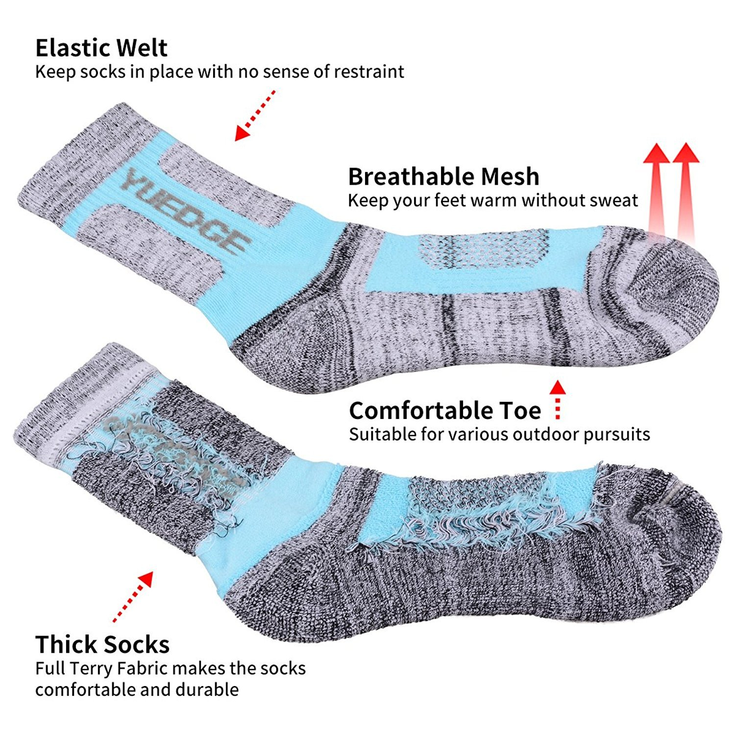 YUEDGE Women's 5 Pairs Wicking Cushion Anti Blister Outdoor Crew Socks for Hiking Walking Running Climbing Backpacking Skiing Year Round(L) by YUEDGE (Image #3)
