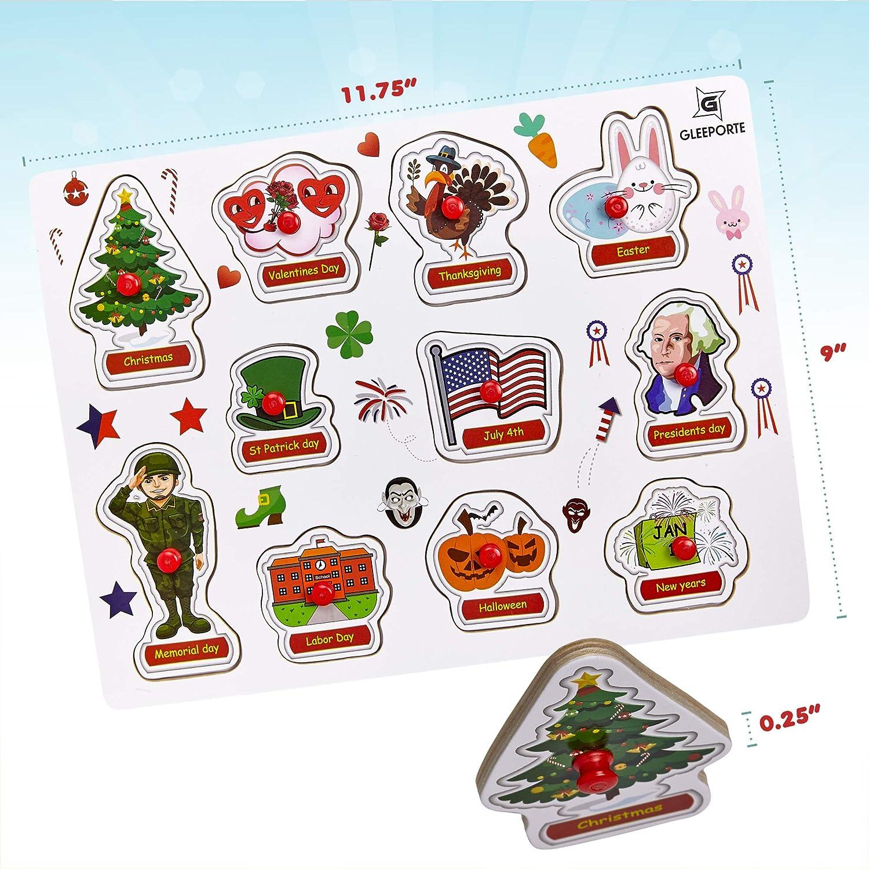 Gleeporte Wooden Peg Puzzle Holiday Theme Learning Educational Pegged Puzzle For Toddler Kids 11 Pcs