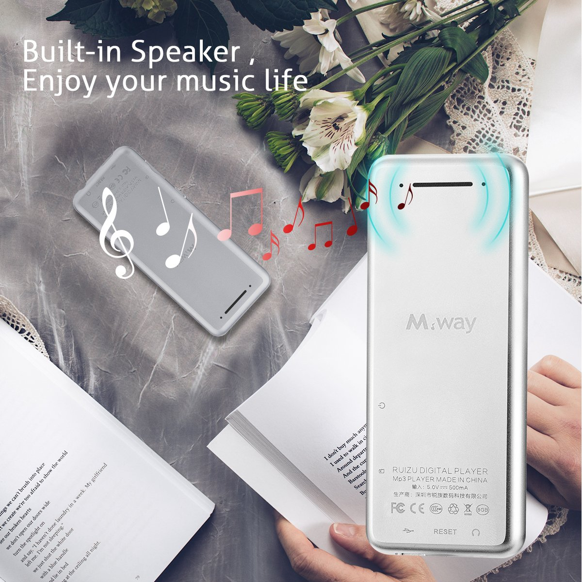 M WAY MP3 Player with Pedometer Lossless Sound Music Player, Support FM Radio/Video Player/Voice Recorder, 55 Hours Play And Zin Alloy Audio Player with Earphone+ Armband Standard