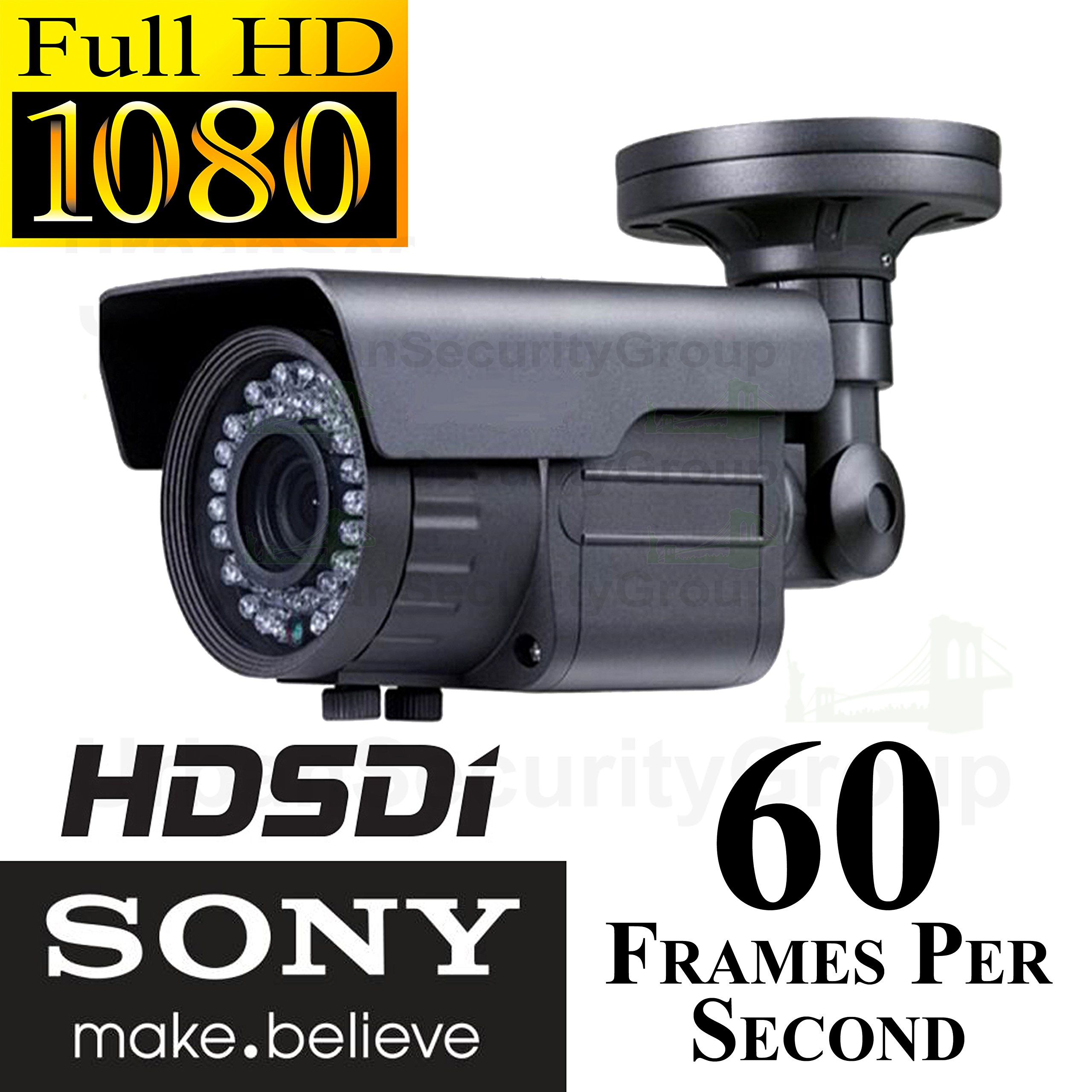 USG Sony HD-SDI 1080P Bullet Security Camera: 2.1 Megapixels, 1920x1080 Video Resolution, 2.8-12mm Varifocal Lens, Sony HD CMOS Sensor, 42x IR LEDs Ideal For Business Video Surveillance