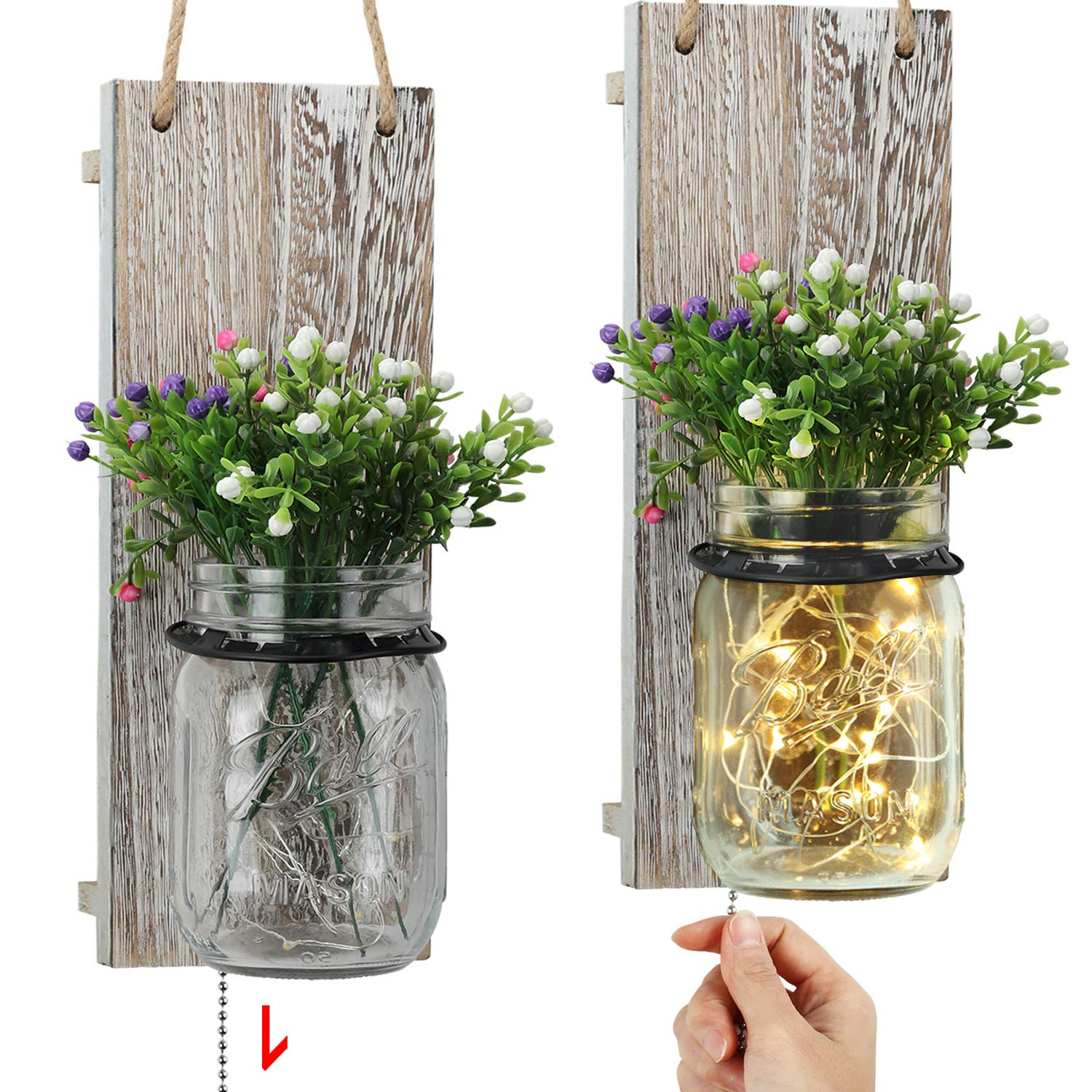 TJ.MOREE Jar Wall Sconces, Vintage Home Decor with Pull Chain Switch, Seasonal Interchangeable Colorful Flowers and LED Strip Lights Design for Farmhouse Home Decoration - Shabby White (Set of 2)