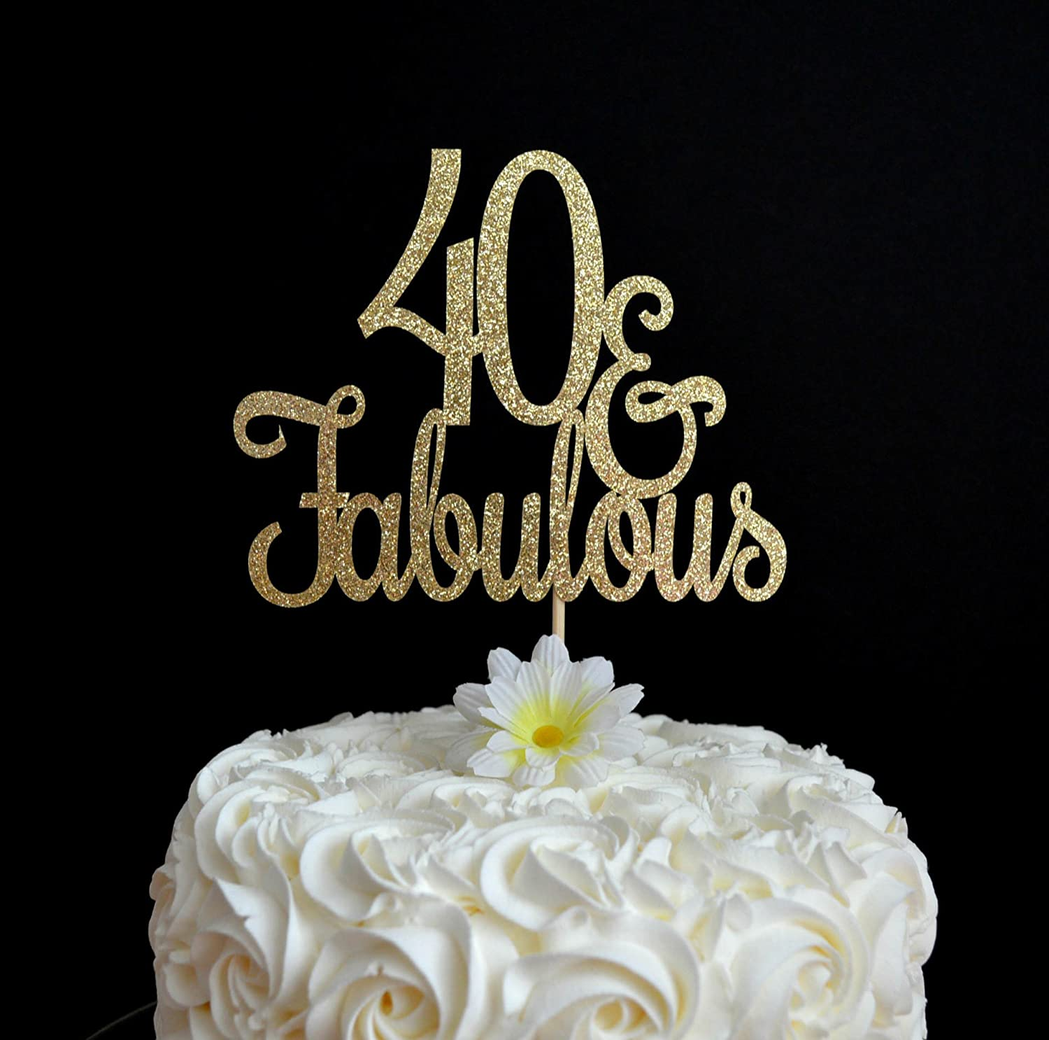40 Fabulous Cake Topper Glitter Birthday 40th Party Decoration And Adult Milestone For Men Women