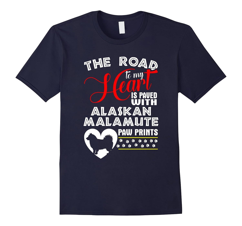 Alaskan Malamute Paw Prints Dog T-Shirt-Art