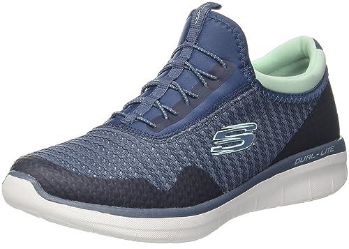 Skechers Synergy 2.0-Mirror Image, Zapatillas sin Cordones para Mujer, Azul (Navy/Blue), 36 EU