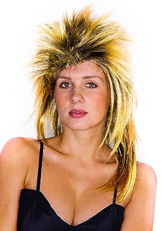 Foxxeo 35290 – Blonde los años Ochenta Mullet Rock Star Peluca para Mujer 80s Fasching Party