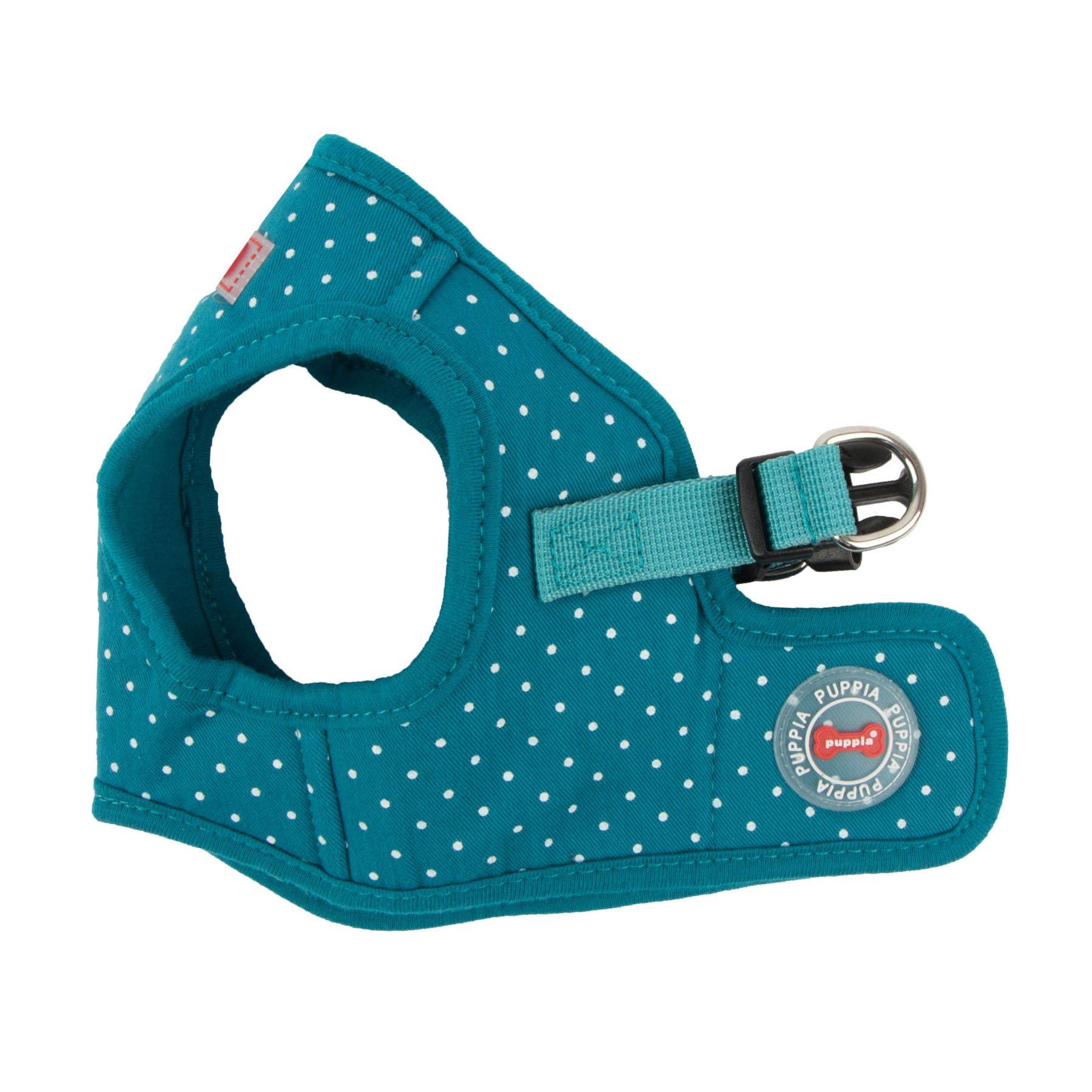 Puppia PARA-HB1529-TE-XS Teal Dotty Harness II B Pet-Vest-Harnesses, X-Small