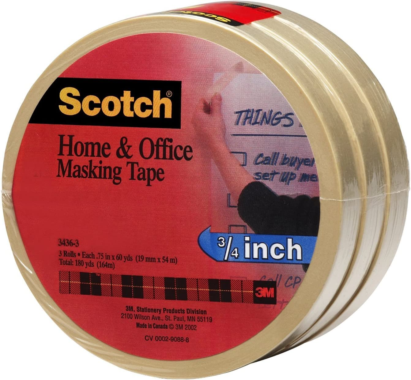 Scotch(R) Home and Office Masking Tape 3436-3, 3/4-inch x 60 Yards, 6 Rolls