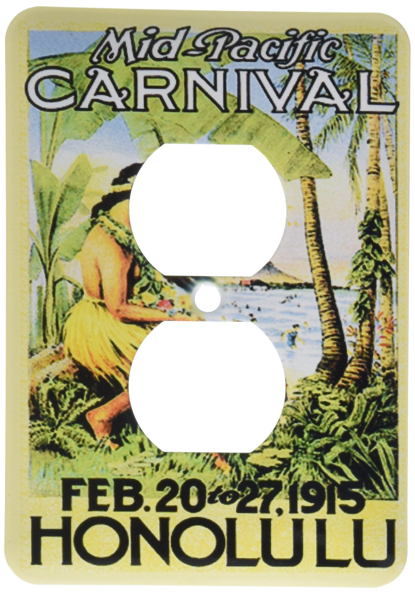 3dRose lsp_163393_6 Image of Vintage Honolulu Poster with Palm and Hawaiian Lady 2 Plug Outlet Cover