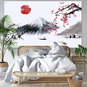 Japanese Wall Hanging Photo Banner Asian Mount Fuji Red Sun Backdrop Japanese Landscape Nature Background for Japanese Party Wall Home Decorations, 72.8 x 43.3 Inch