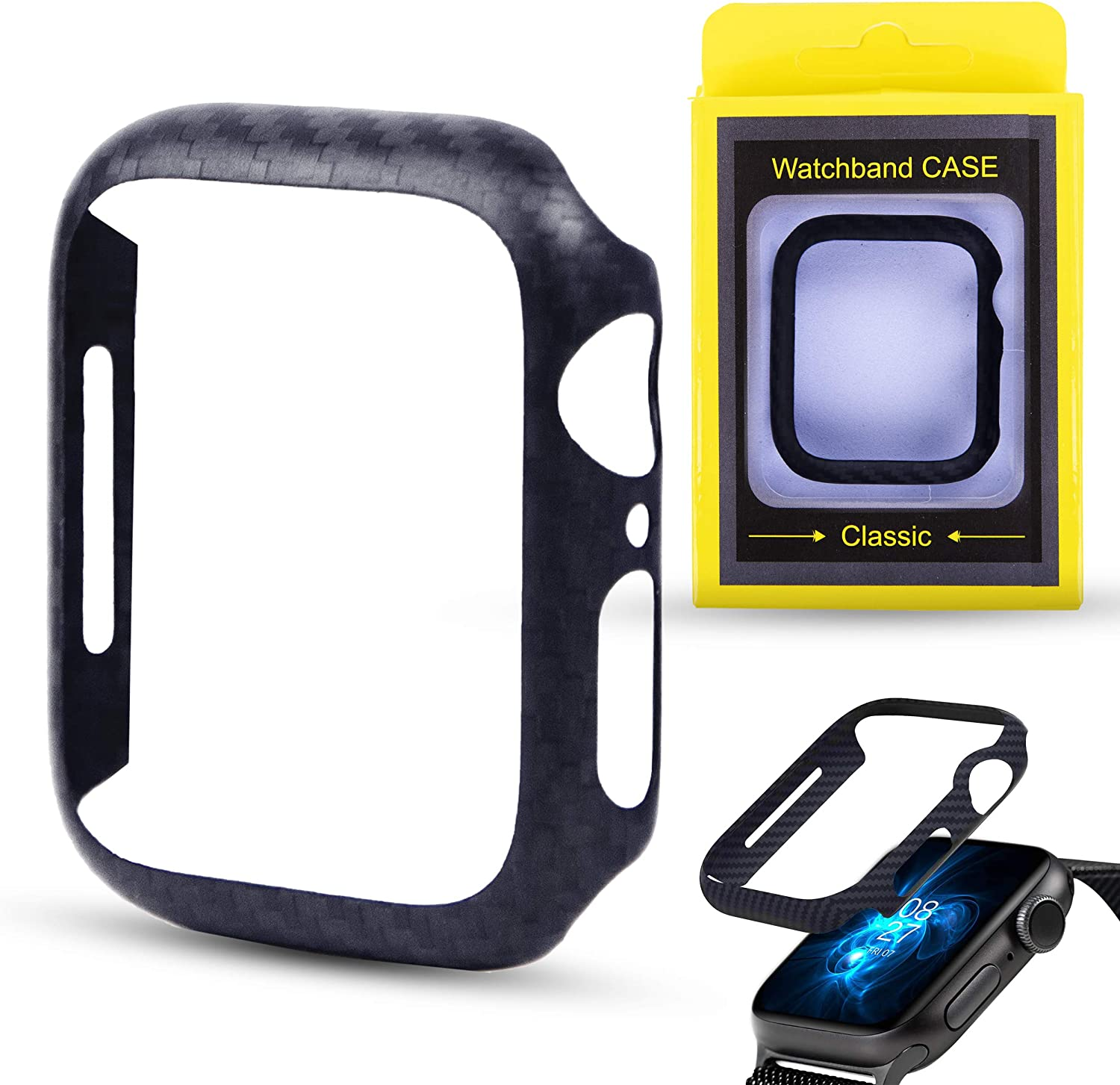 Safedome Carbon Fiber Luxury Watch Case for Apple Watch Series 6/5 / 4, Shockproof Durable with Premium Matte Twill Weave Finish (44MM)