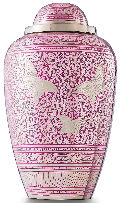 Großer Größe Pink Butterfly Design Erwachsene Urne, Urns für Echthaar Asche und Memorial, UK