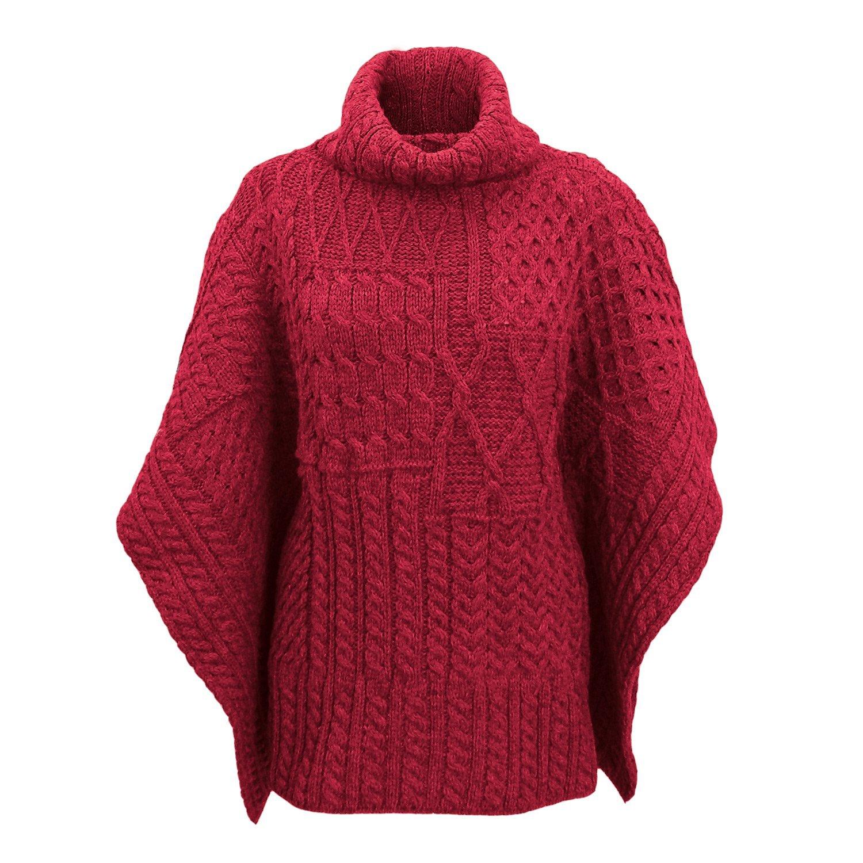 Carraig Donn 100% Irish Merino Wool Patchwork Aran Cowl Cape.