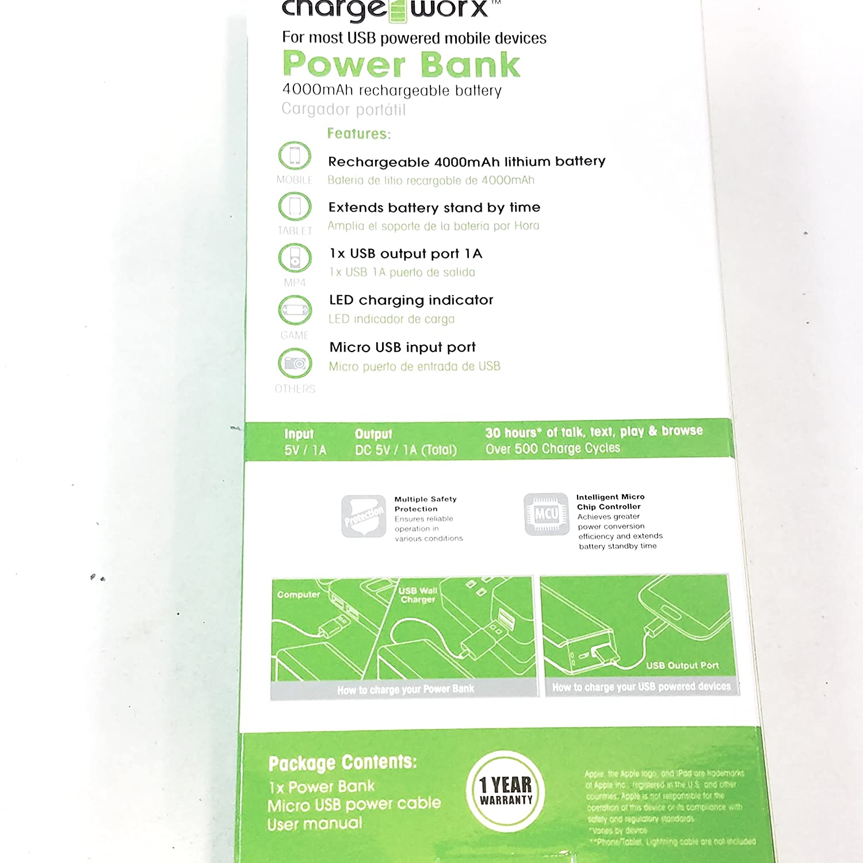 Amazon.com: Charge Worx Green Portable Power Bank 4000mAH ...