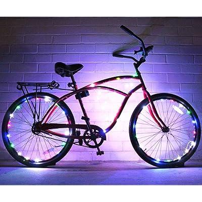 (Lot de 2) Glowriders–Roue de vélo ultra lumineux LED–Guirlande lumineuse–Couleurs assorties Pneu de vélo Accessoires Burning Man accessoire