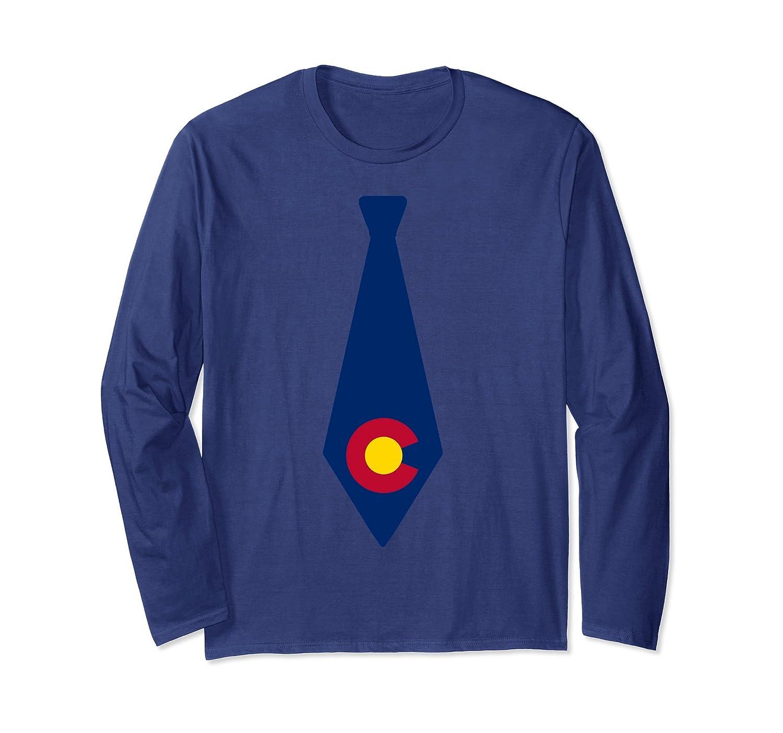 Colorado Flag Tie Long Sleeve Shirt-Rose