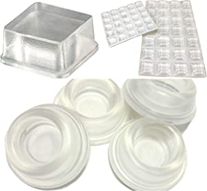 Combo of 4 PC Door Stopper Bumpers + 53 PC Clear Rubber Feet + 20 PC Tall Square Bumper Pads Rubber Feet for Speakers, Electronics, Furniture, Appliances, Audio Equipment