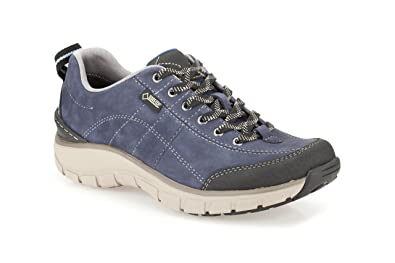 Clarks Womens Sport Clarks Wave Trail Gtx Nubuck Shoes In Navy Standard Fit  Size 7