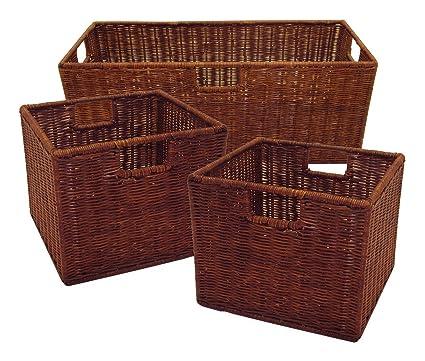 Incroyable Winsome Wood Leo Storage Baskets, Set Of 3, Walnut