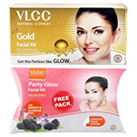 VLCC Gold Facial Kit, 60g with Free Party Glow Facial Kit, 60g