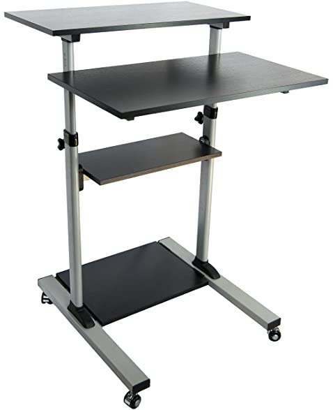 Amazoncom VIVO Mobile Height Adjustable Stand Up Desk with