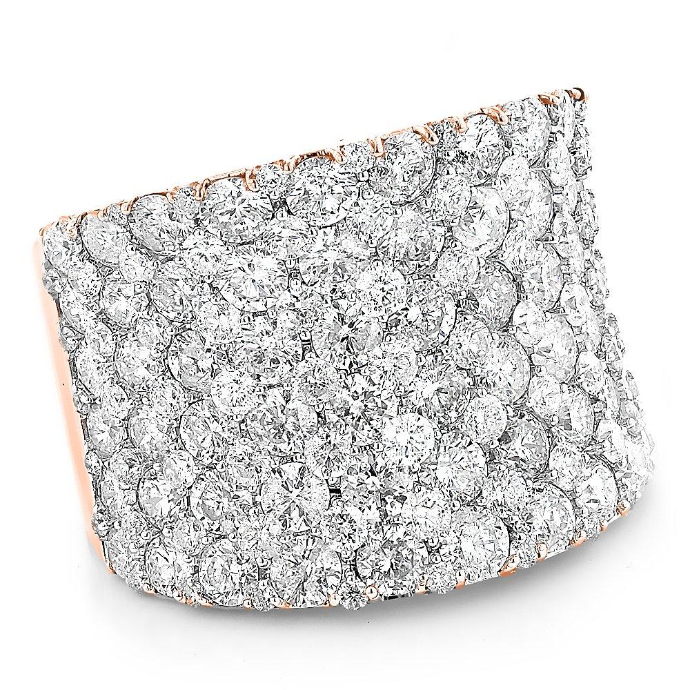 14K Gold Unique Diamond Wedding Bands Ladies Pave Diamonds Ring 8ctw G-H color (Rose Gold, Size 5)