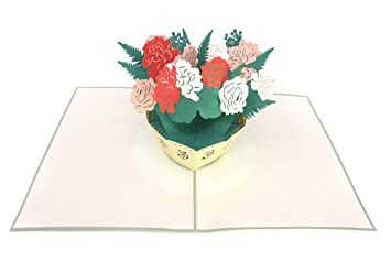 Poplife Greeting Cards Poplife Cartes De Voeux Fleur Rose Bouquet