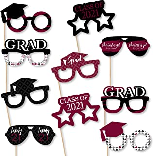 product image for Big Dot of Happiness Maroon Grad Glasses - Best is Yet to Come - Burgundy 2021 Paper Card Stock Graduation Party Photo Booth Props Kit - 10 Count
