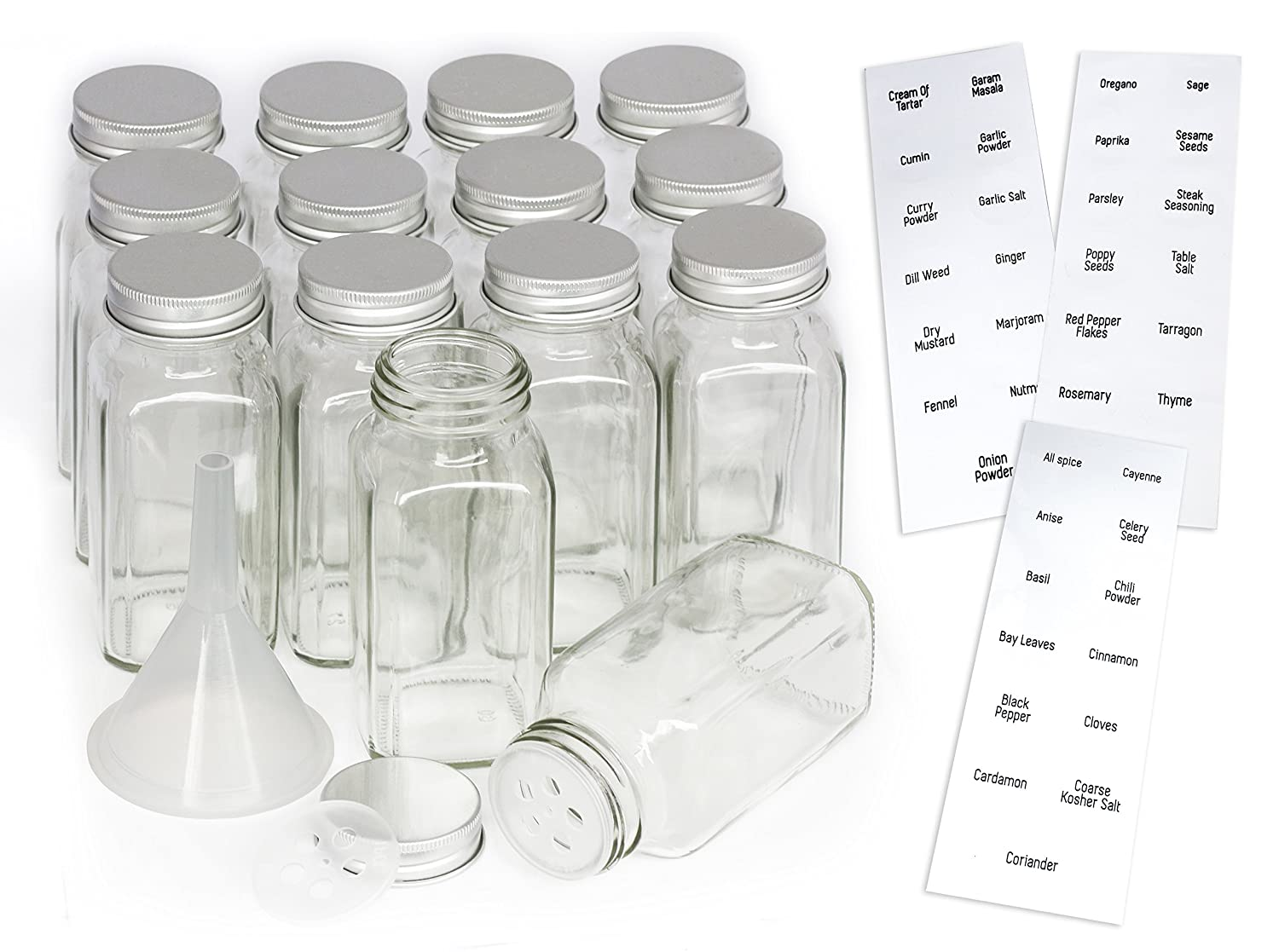 14 Square Glass Spice Jars with Shaker Lids and Metal caps (6 oz), Plastic Funnel, Pre-Printed Label set   Organize Salt, Pepper, Herbs & More