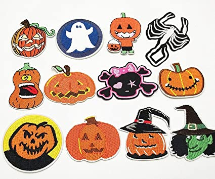 dandan diy 12pcs halloween pumpkin skeleton kid embroidered patch sew on iron on patch applique