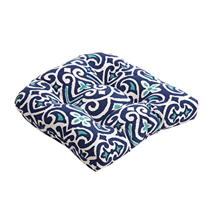Exceptionnel Pillow Perfect Blue/White Damask Chair Cushion