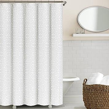light gray shower curtain. Amazon com  Echelon Home Greek Key Shower Curtain Light Grey Kitchen