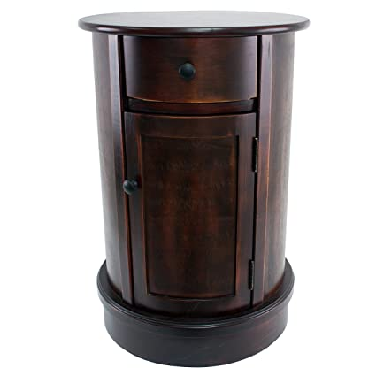 Amazon Com Decor Therapy Round Side Table With 1 Door And Drawer