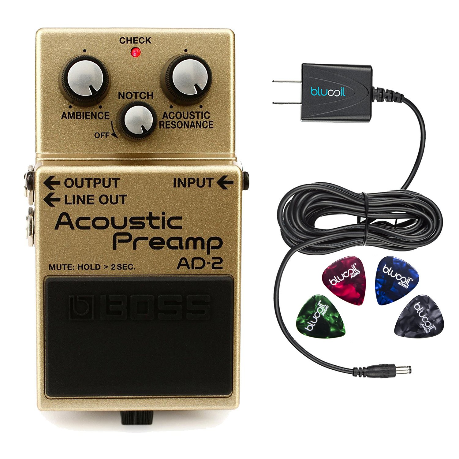 Boss AD-2 Acoustic Preamp Pedal –INCLUDES– Blucoil Power Supply Slim AC/DC Adapter for 9 Volt DC 670mA AND 4 Pack of Guitar Picks