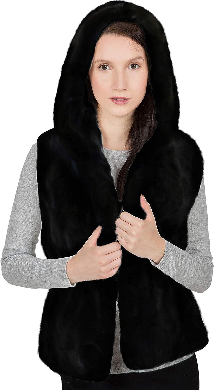 Real Rabbit Fur Vest with Hood Real Fur Vest.