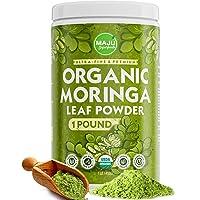 MAJU's Organic Moringa Powder (1 Pound), Oleifera Leaf, Extra-Fine Quality, Dried...
