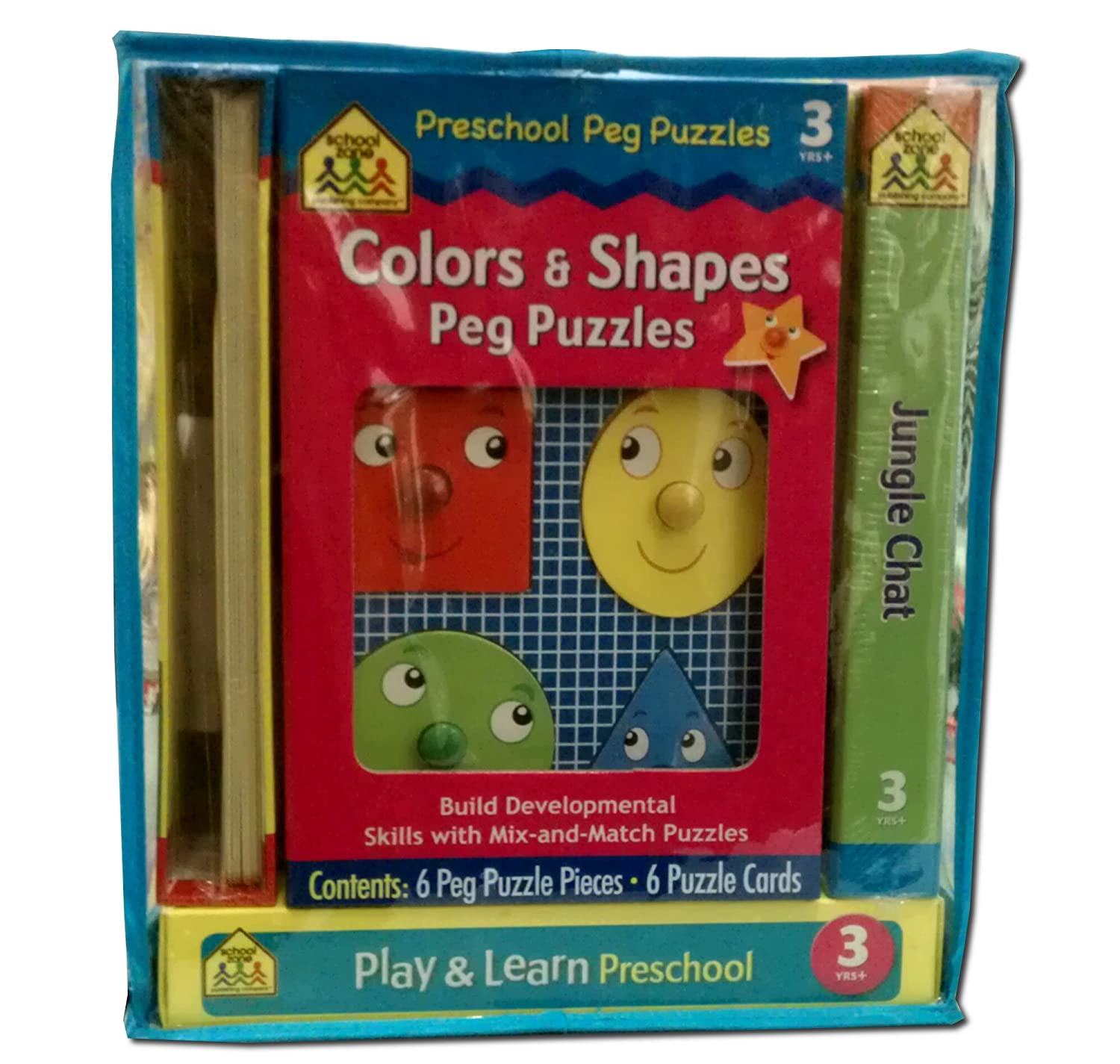 Preschool Colors and Shapes Peg Puzzles Play and Learn Build Skills Develepoment by School Zone