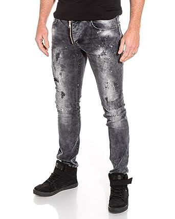 Blz Jeans Jean Homme Slim Gris Délavé Zip Fantaisie Taches