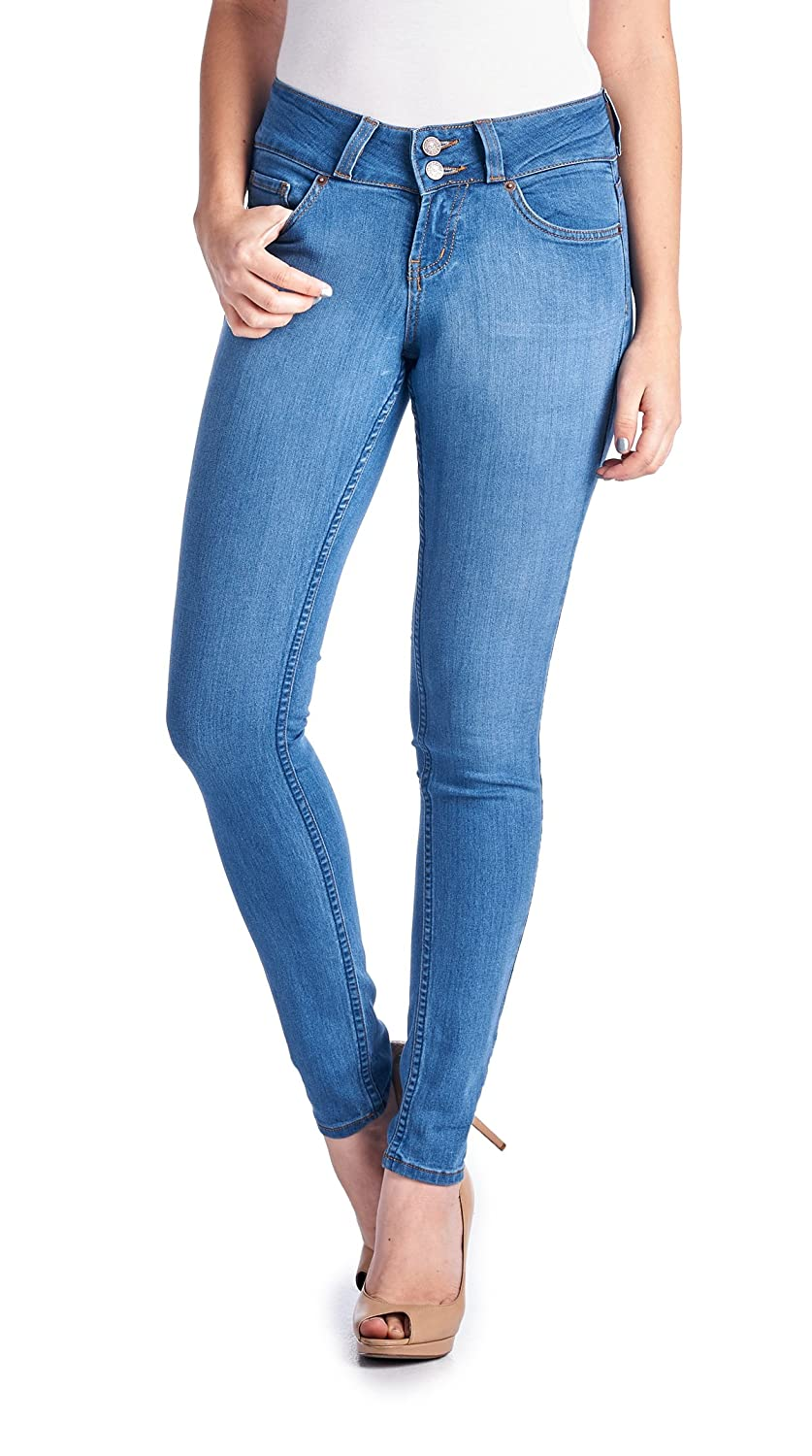 Parkers Jeans Women's Stretch Double Button Mid Rise Skinny Jeans