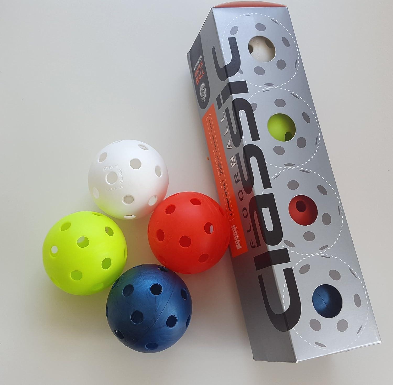 4x Floorball Classic Renew Unihoc weiß/blau/gelb/rot