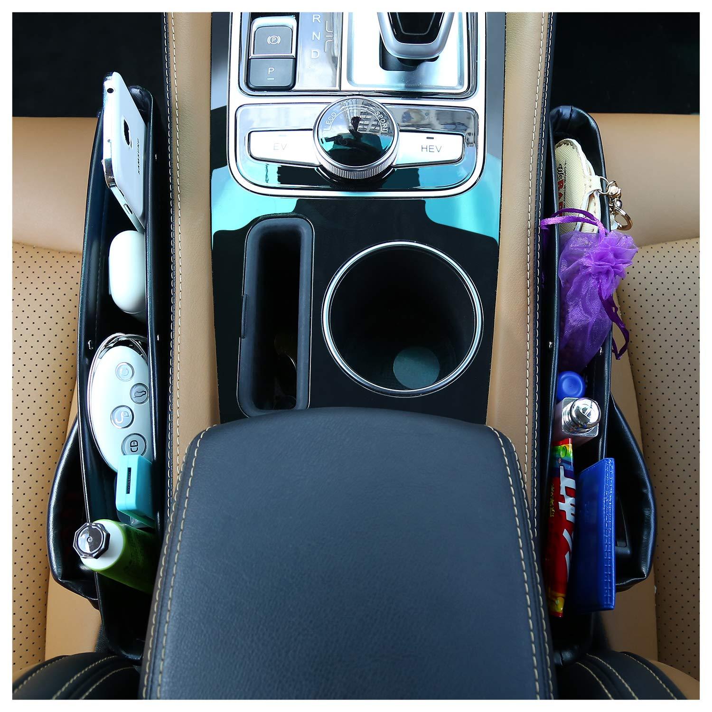Car Interior Accessories MODOKIT Set of 2 Car Seat Gap Filler with 2 Pcs Hangers- Seat Console Organizer Car Seat Side Drop Caddy Catcher Car Pocket Organizer